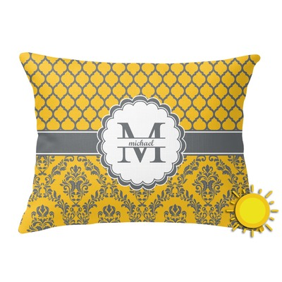 Damask & Moroccan Outdoor Throw Pillow (Rectangular) (Personalized)