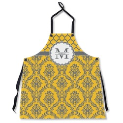 Damask & Moroccan Apron Without Pockets w/ Name and Initial