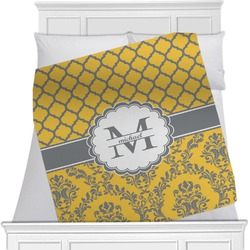 "Damask & Moroccan Fleece Blanket - Twin / Full - 80""x60"" - Single Sided (Personalized)"