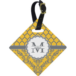 Damask & Moroccan Diamond Luggage Tag (Personalized)