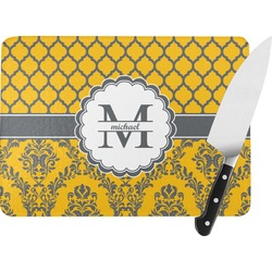 Damask & Moroccan Rectangular Glass Cutting Board (Personalized)