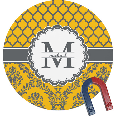 Damask & Moroccan Round Magnet (Personalized)