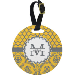 Damask & Moroccan Plastic Luggage Tag - Round (Personalized)