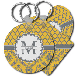 Damask & Moroccan Plastic Keychains (Personalized)