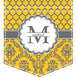 Damask & Moroccan Iron On Faux Pocket (Personalized)