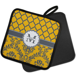 Damask & Moroccan Pot Holder w/ Name and Initial