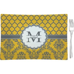Damask & Moroccan Glass Rectangular Appetizer / Dessert Plate - Single or Set (Personalized)