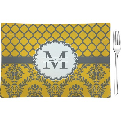 Damask & Moroccan Rectangular Glass Appetizer / Dessert Plate - Single or Set (Personalized)