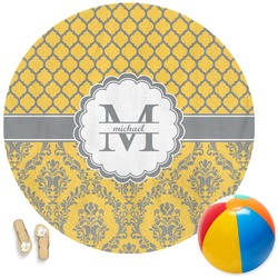 Damask & Moroccan Round Beach Towel (Personalized)