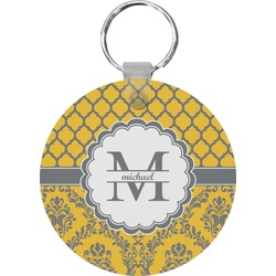 Damask & Moroccan Round Keychain (Personalized)
