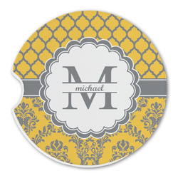 Damask & Moroccan Sandstone Car Coaster - Single (Personalized)