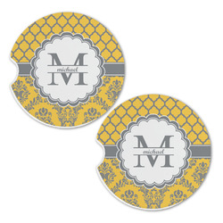 Damask & Moroccan Sandstone Car Coasters - Set of 2 (Personalized)