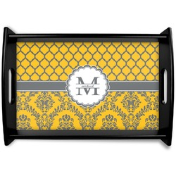 Damask & Moroccan Black Wooden Tray (Personalized)