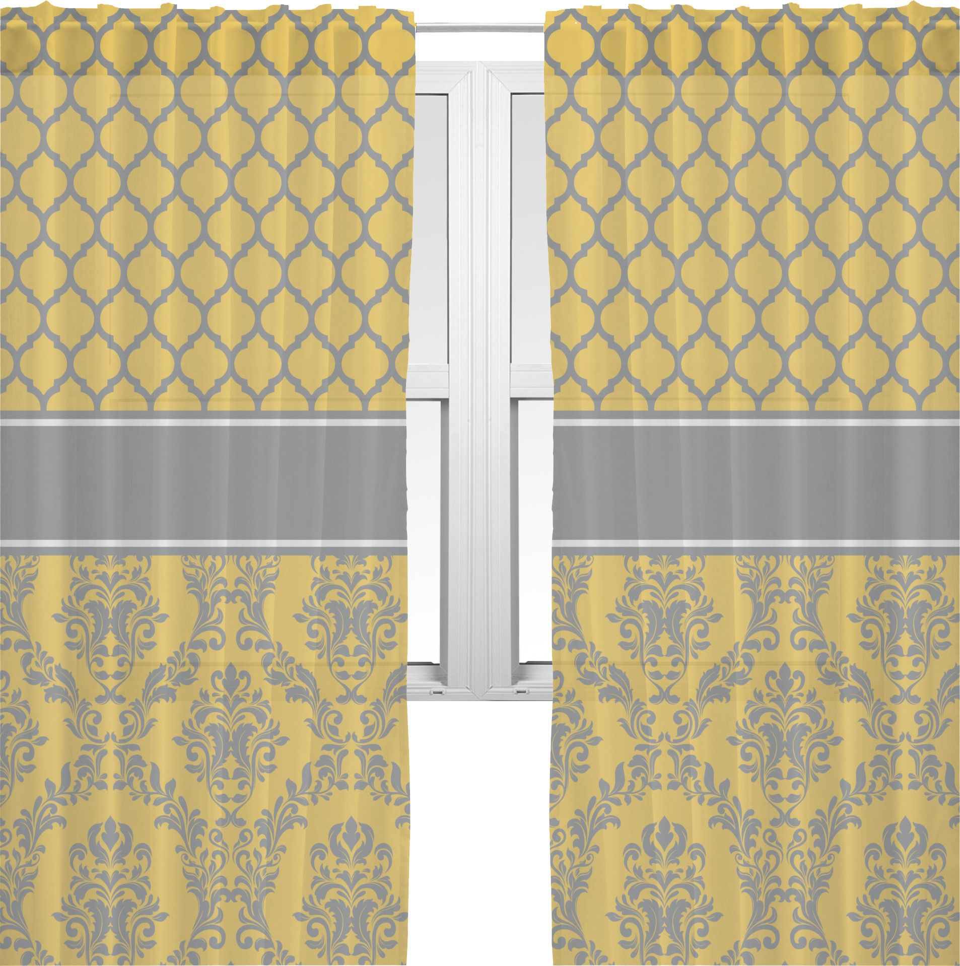 Damask Moroccan Sheer Curtains Personalized Youcustomizeit