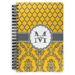 Damask & Moroccan Spiral Bound Notebook (Personalized)