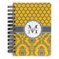 Damask & Moroccan Spiral Bound Notebook - 5x7 (Personalized)