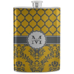 Damask & Moroccan Stainless Steel Flask (Personalized)