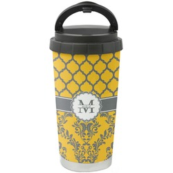 Damask & Moroccan Stainless Steel Coffee Tumbler (Personalized)