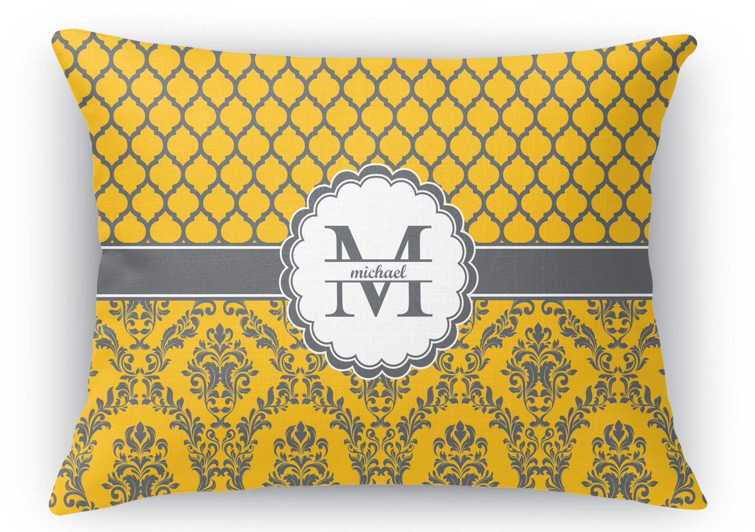 Rectangular Throw Pillow Dimensions : Damask & Moroccan Rectangular Throw Pillow - 18