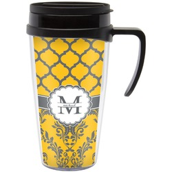 Damask & Moroccan Travel Mug with Handle (Personalized)
