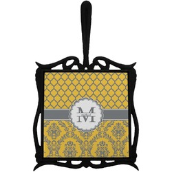 Damask & Moroccan Trivet with Handle (Personalized)