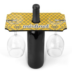 Damask & Moroccan Wine Bottle & Glass Holder (Personalized)