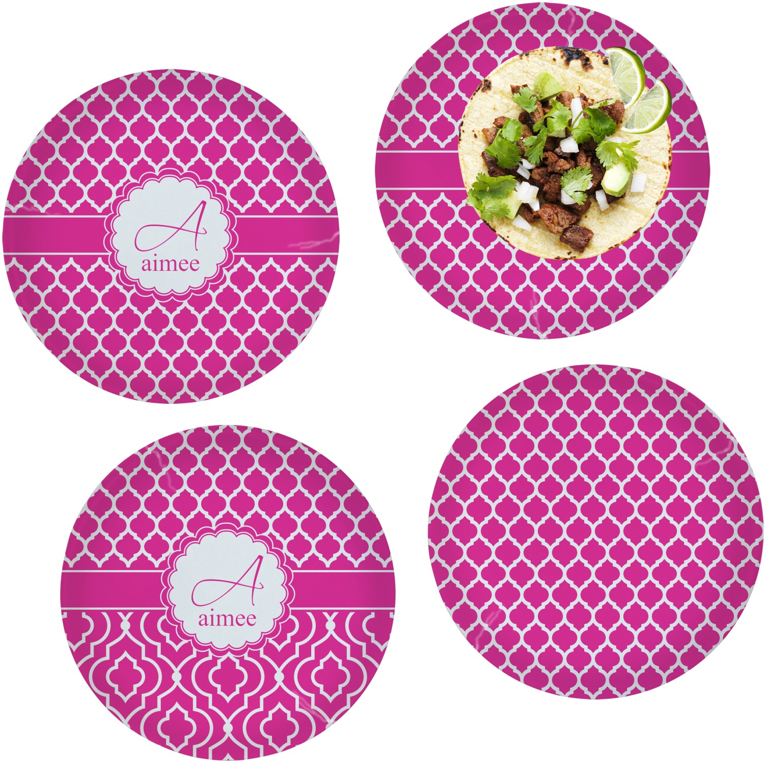 Moroccan Set of 4 Lunch / Dinner Plates (Glass) (Personalized)  sc 1 st  YouCustomizeIt & Moroccan Set of 4 Lunch / Dinner Plates (Glass) (Personalized ...