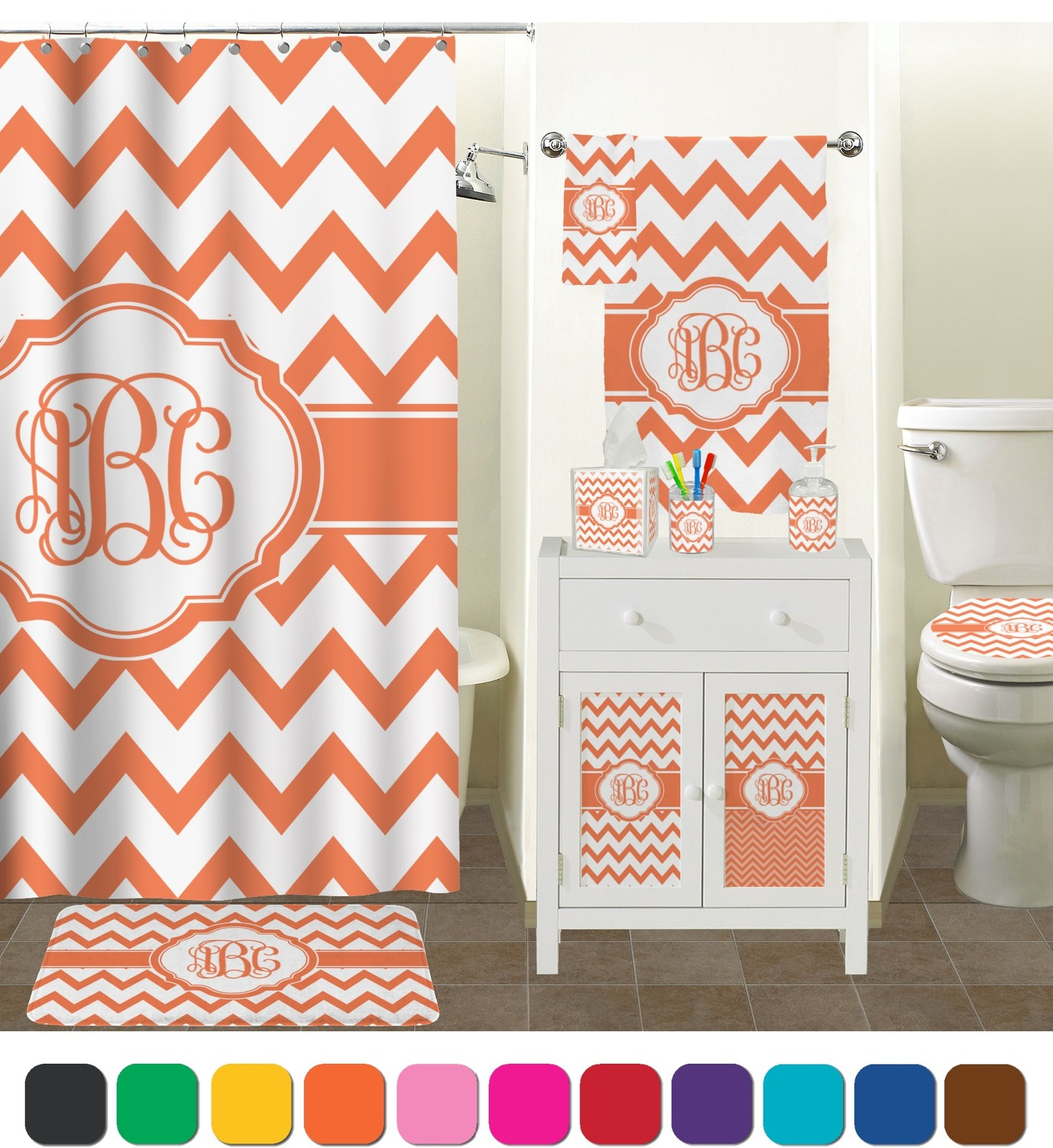 Chevron Shower Curtain Personalized You Customize It