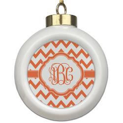 Chevron Ceramic Ball Ornament (Personalized)