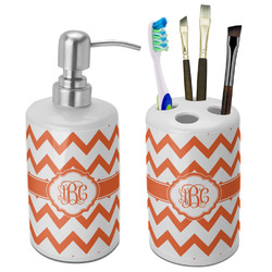 Chevron Bathroom Accessories Set (Ceramic) (Personalized)