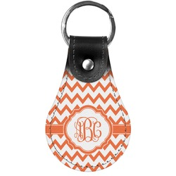 Chevron Genuine Leather  Keychain (Personalized)