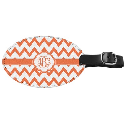 Chevron Genuine Leather Oval Luggage Tag (Personalized)