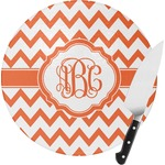 Chevron Round Glass Cutting Board (Personalized)
