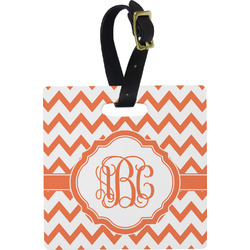 Chevron Plastic Luggage Tag - Square w/ Monogram