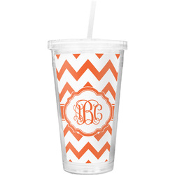 Chevron Double Wall Tumbler with Straw (Personalized)
