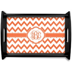 Chevron Black Wooden Tray (Personalized)
