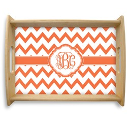 Chevron Natural Wooden Tray - Large (Personalized)