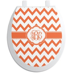 Chevron Toilet Seat Decal - Round (Personalized)
