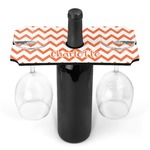 Chevron Wine Bottle & Glass Holder (Personalized)