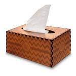 Chevron Wooden Tissue Box Cover - Rectangle (Personalized)