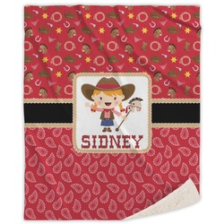Red Western Sherpa Throw Blanket (Personalized)
