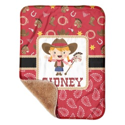 """Red Western Sherpa Baby Blanket 30"""" x 40"""" (Personalized)"""