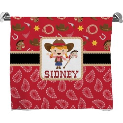 Red Western Full Print Bath Towel (Personalized)