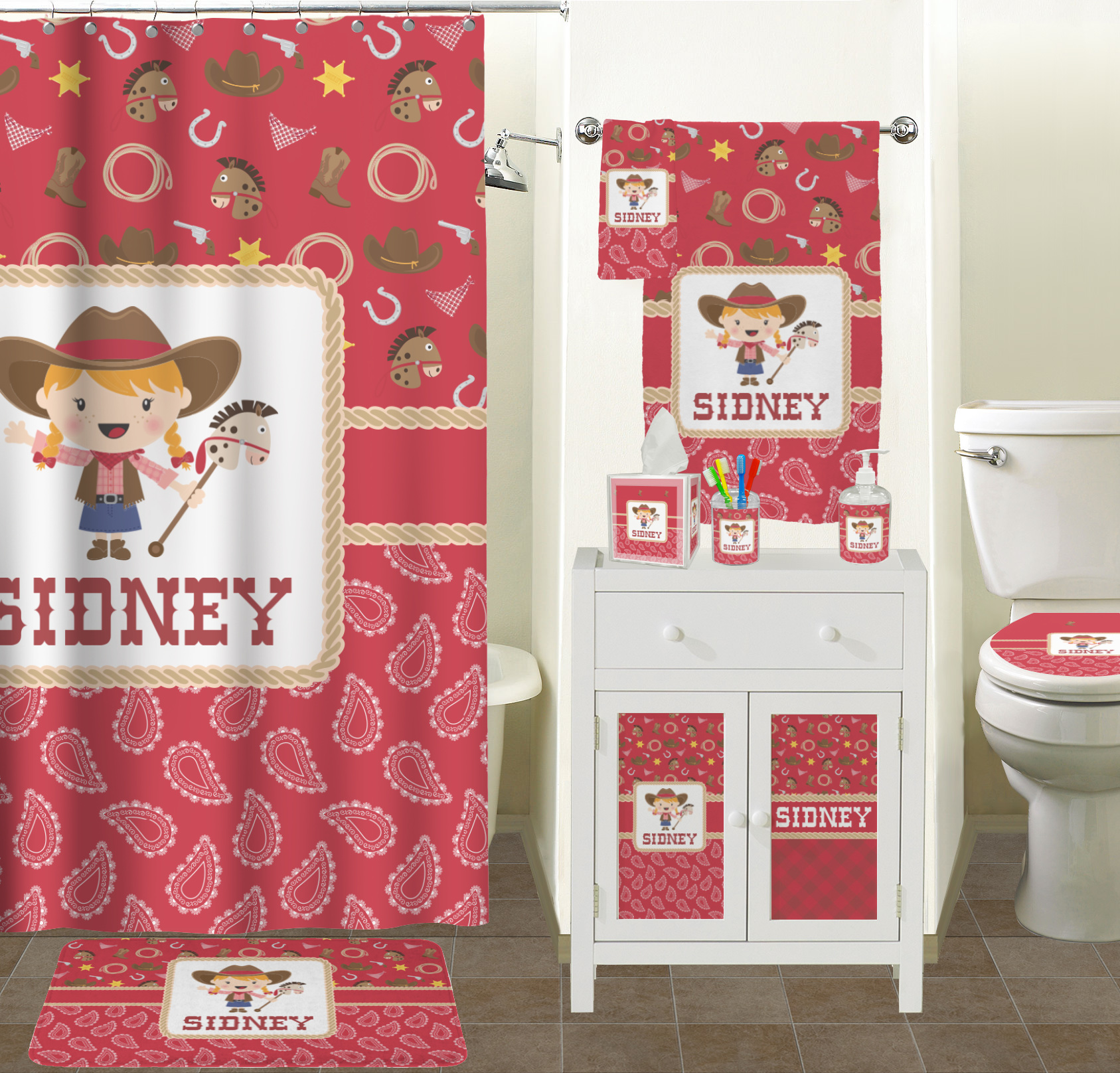 Red western bathroom accessories set ceramic personalized rnk