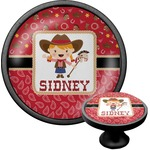 Red Western Cabinet Knob (Black) (Personalized)