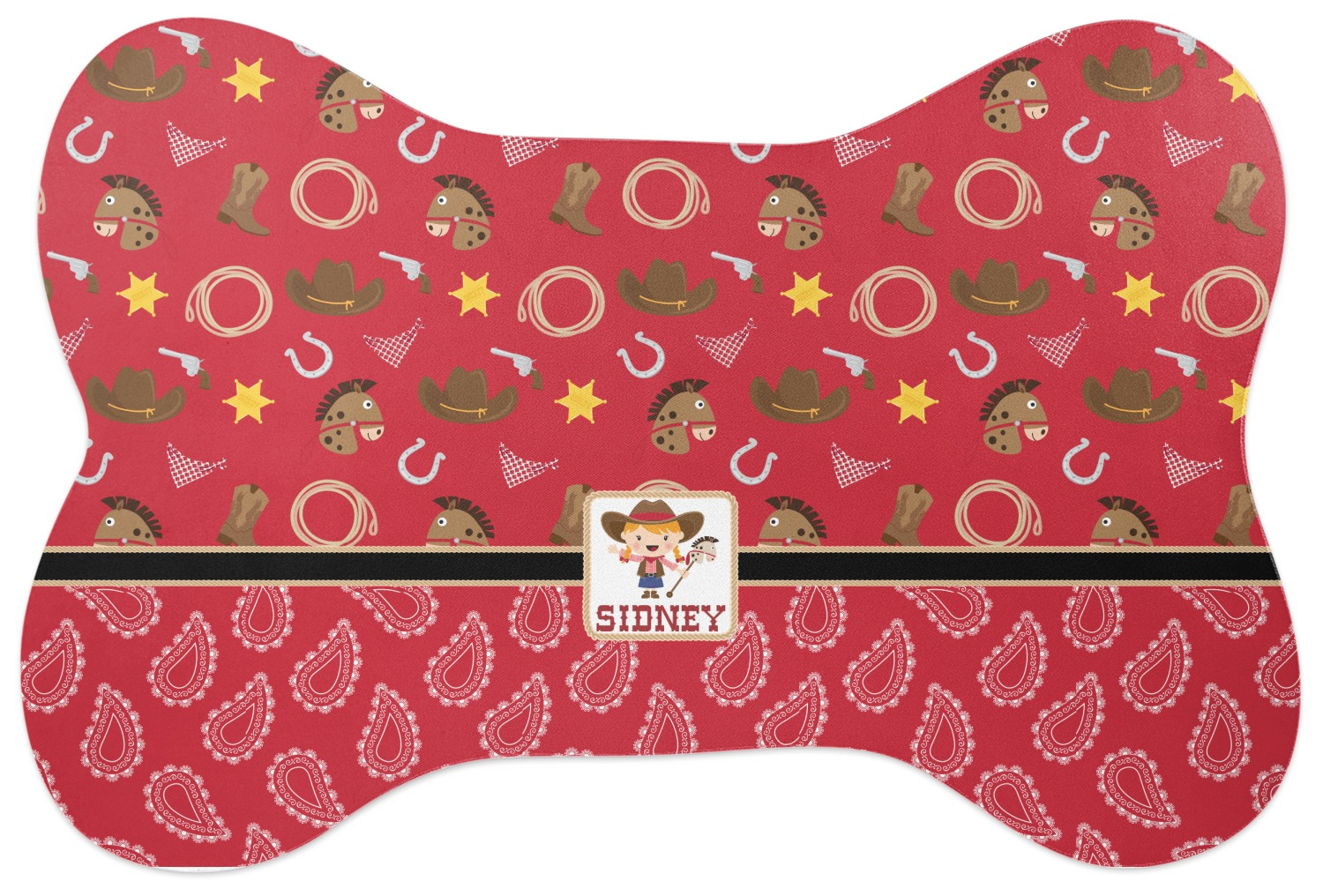 Red Western Bone Shaped Dog Food Mat (Personalized ...