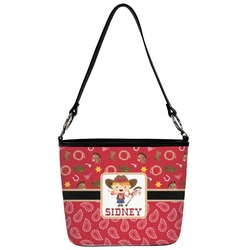 Red Western Bucket Bag w/ Genuine Leather Trim (Personalized)