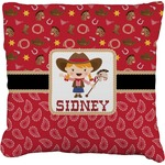 Red Western Faux-Linen Throw Pillow (Personalized)