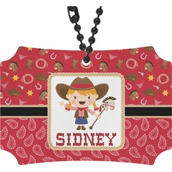 Red Western Rear View Mirror Ornament (Personalized)