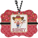 Red Western Rear View Mirror Charm (Personalized)